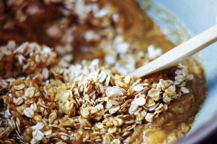 oats and peanut butter in mixing bowl