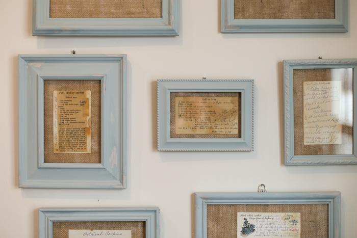 framed recipes on wall