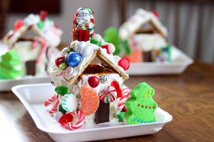 Gingerbread house made with graham crackers