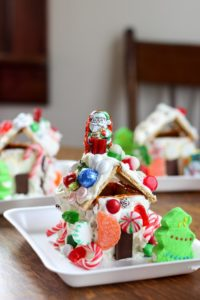 Gingerbread house decorated on plate