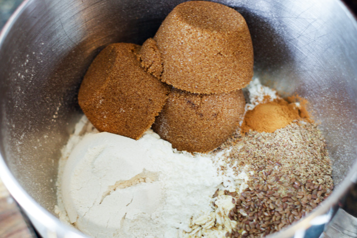 brown sugar, flour and other ingredients in bowl