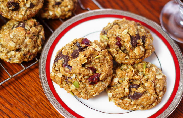 three healthy cookies on plate