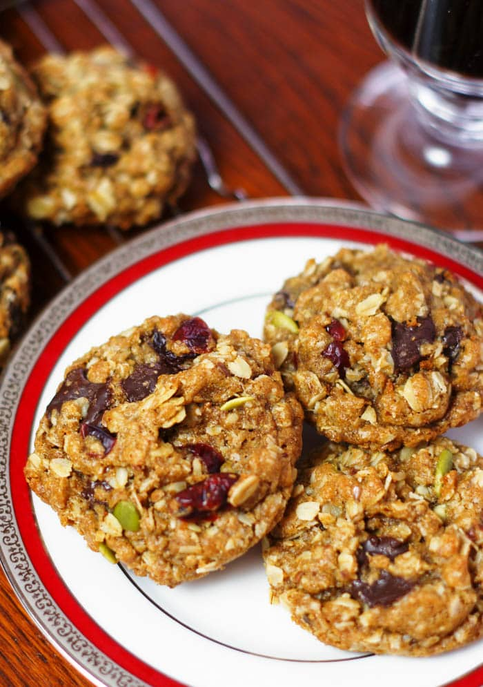 healthy cookies on plate with coffee