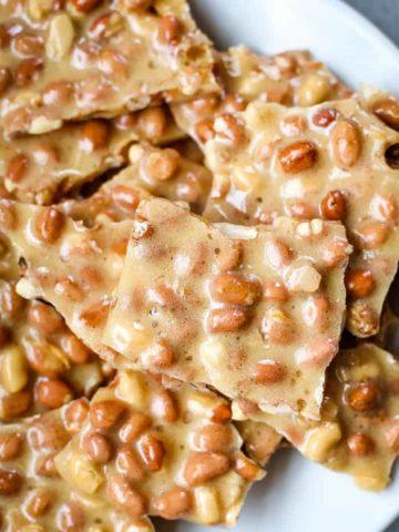 microwave peanut brittle on plate