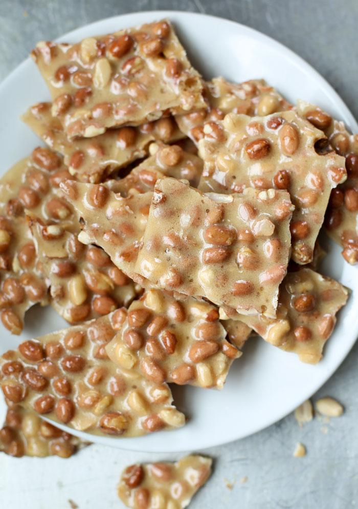 peanut brittle broken on plate