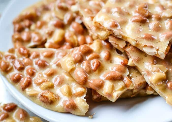 best peanut brittle recipe on plate