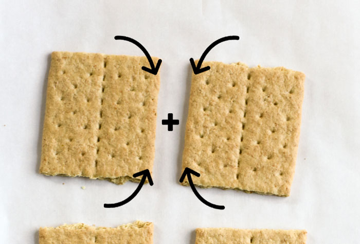 two crackers with arrows showing how to combine