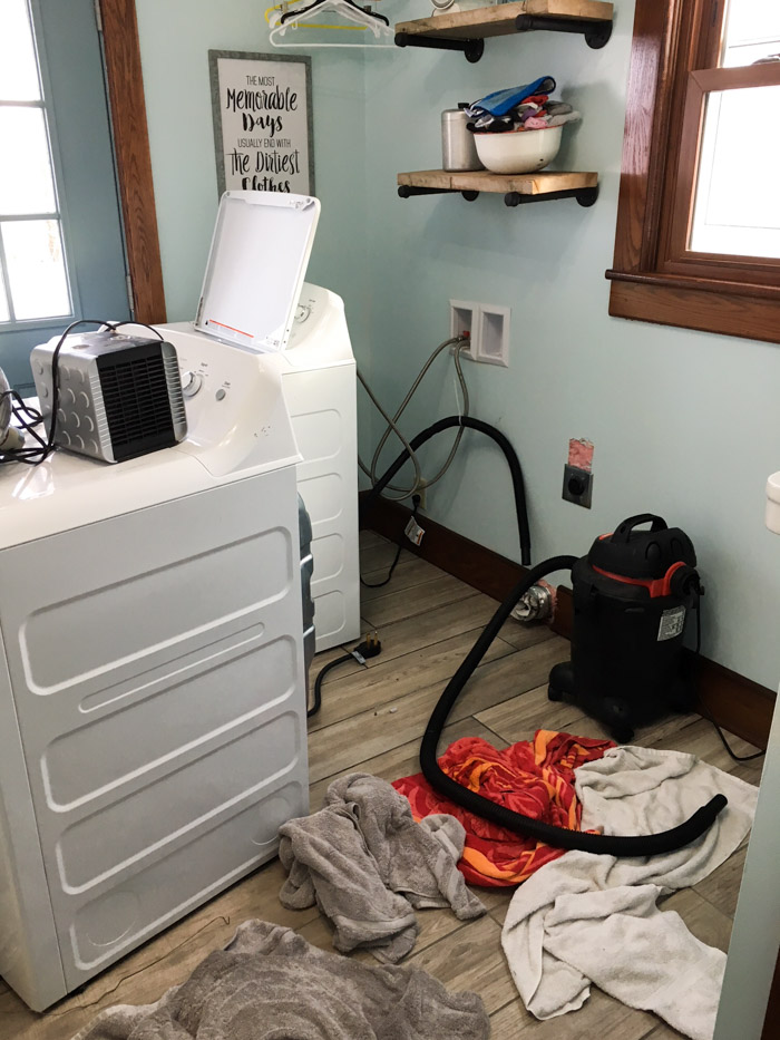 laundry room after pipes freeze