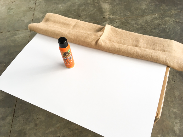 mat board with burlap cloth