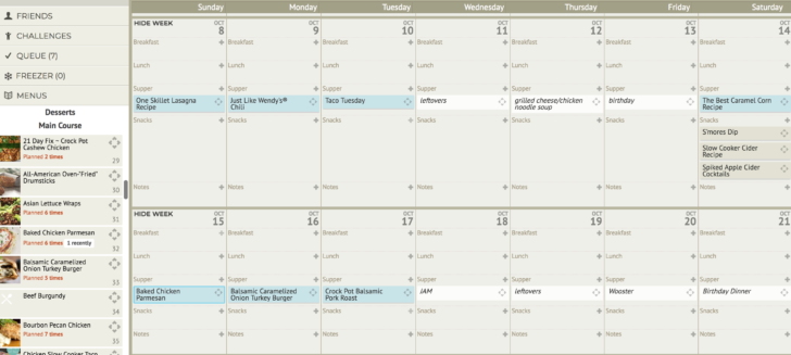 Plan to Eat Calendar with Recipes