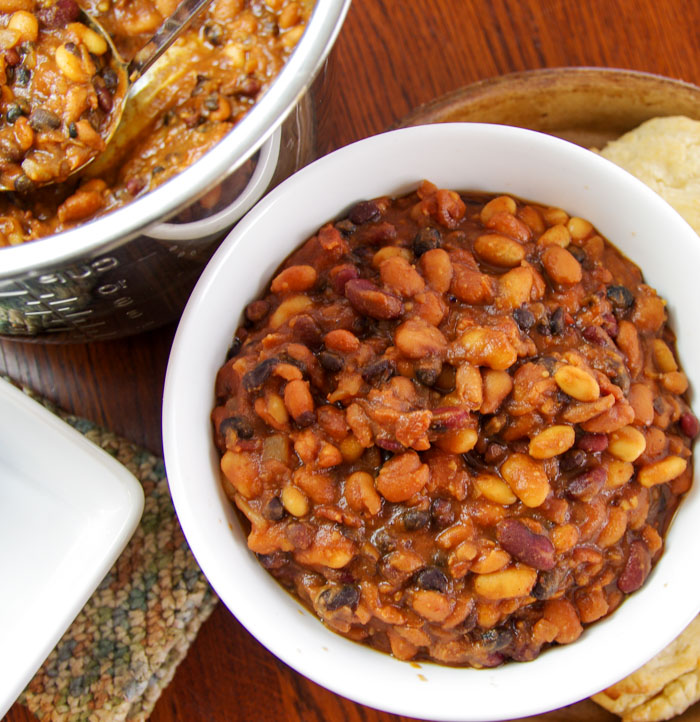homemade baked beans with bacon in bowl