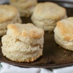 baked biscuits on dark pan