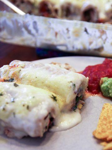 chicken enchiladas casserole on plate