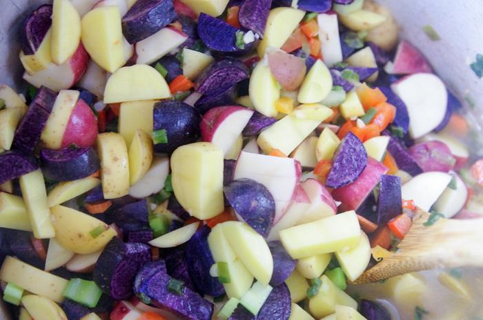 potatoes in stock pot