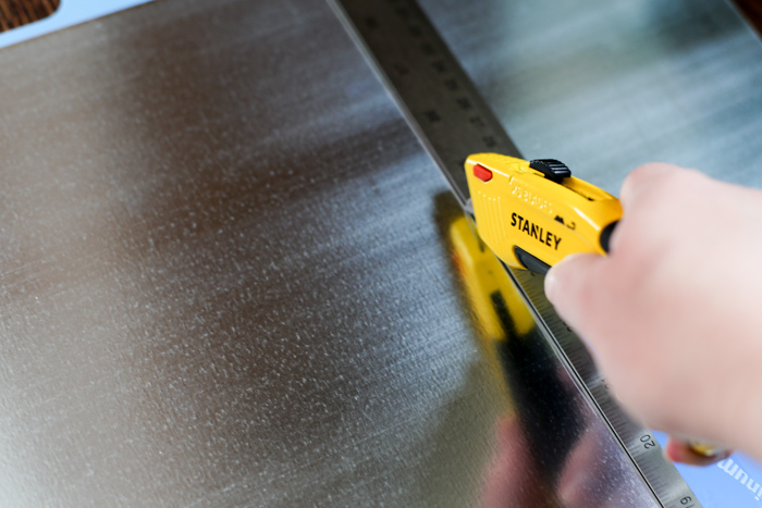 utility knife cutting galvanized metal