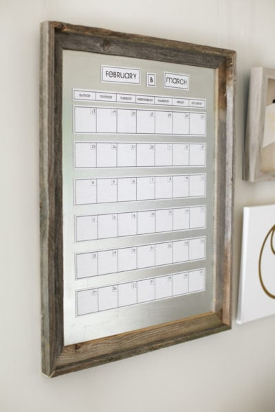 magnetic galvanized metal calendar on wall