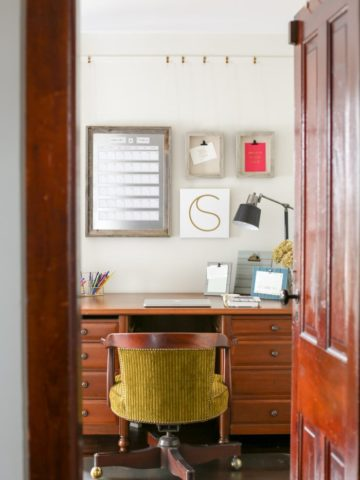 old home open door with view into office