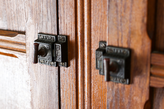 antique latch handles on armoire