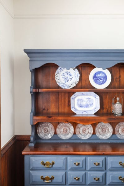 plate hutch painted with blue chalk paint and antique plates