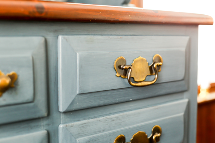 painted antique hutch close up