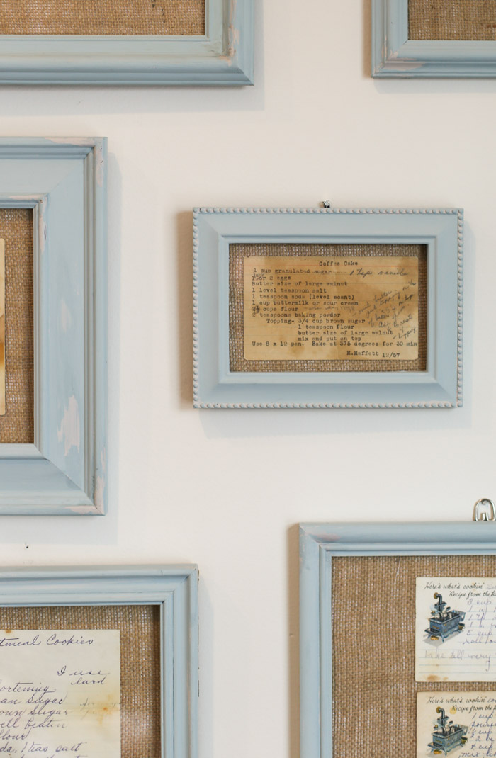 frames on wall with recipe cards