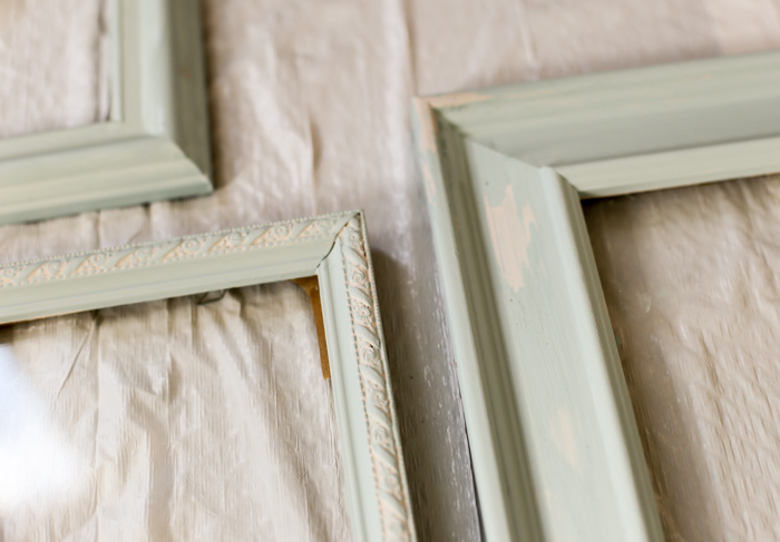 blue picture frames with distressing