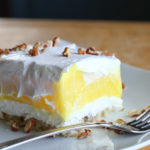 lemon dessert lemon lush on plate with fork