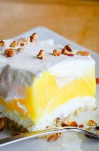 lemon lush lemon dessert on plate