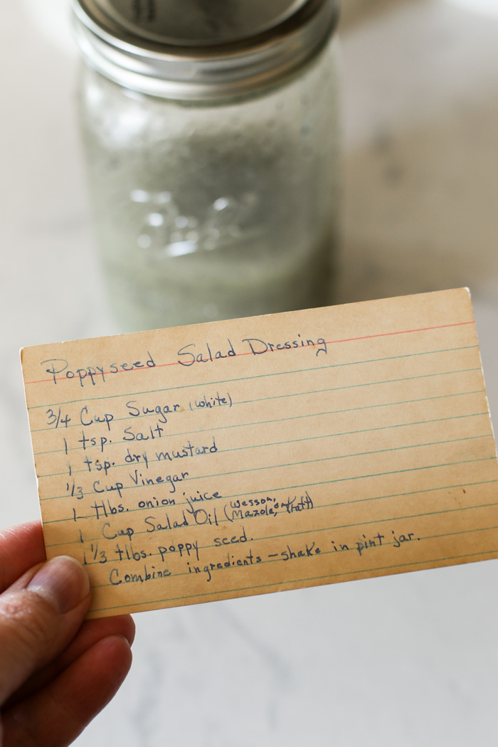 antique recipe card with poppyseed dressing ingredients listed
