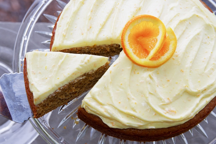 orange frosting on cake