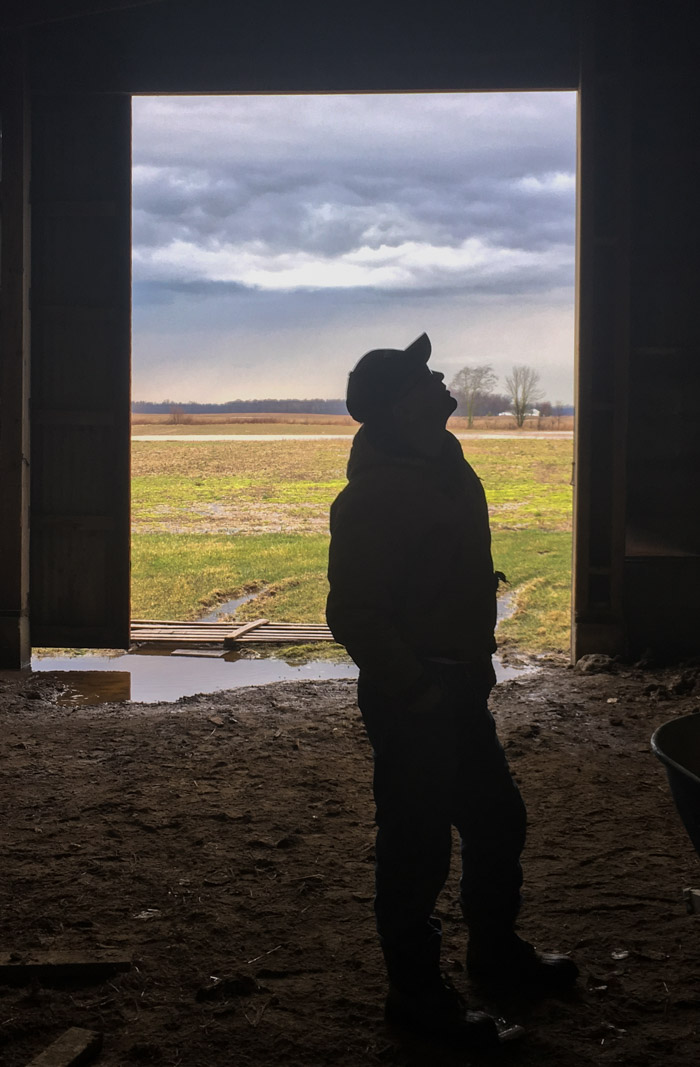 farmer in barn