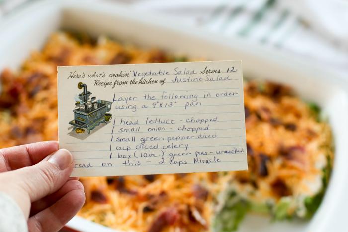 seven layer salad recipe card