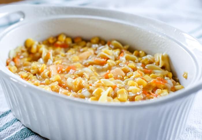 corn casserole ingredients in bowl