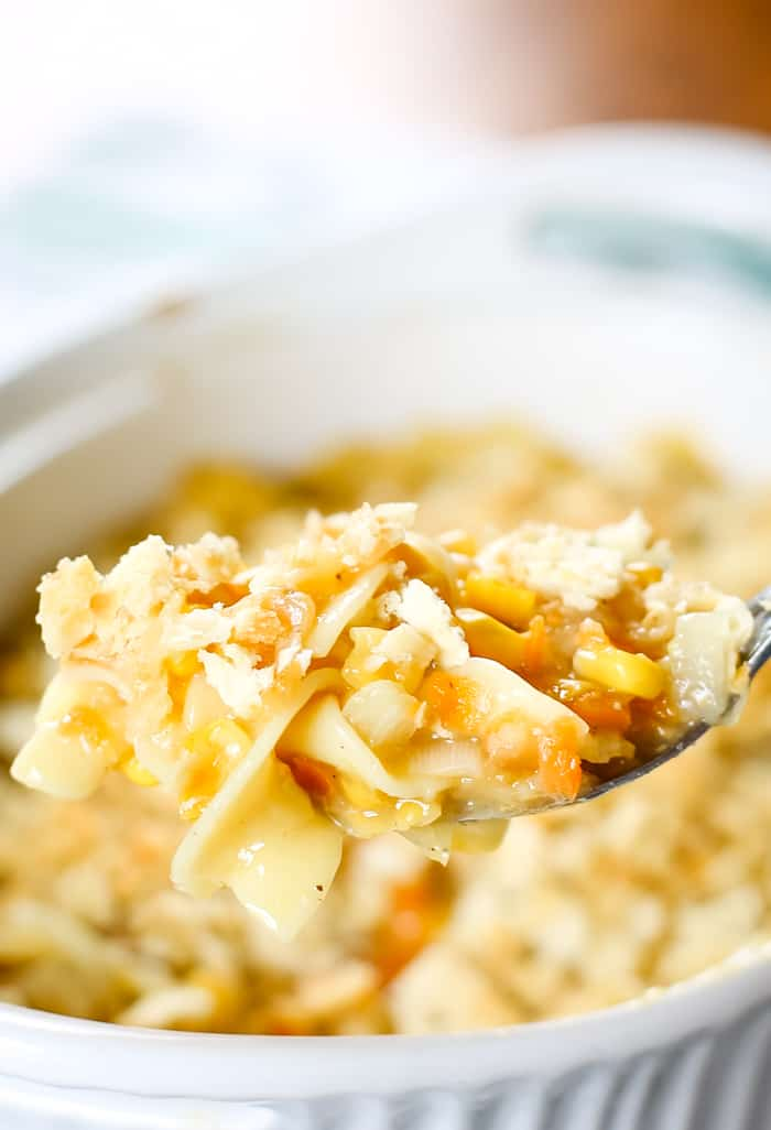 spoonful of corn and noodle casserole
