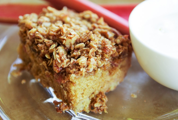 best every rhubarb cake recipe on plate