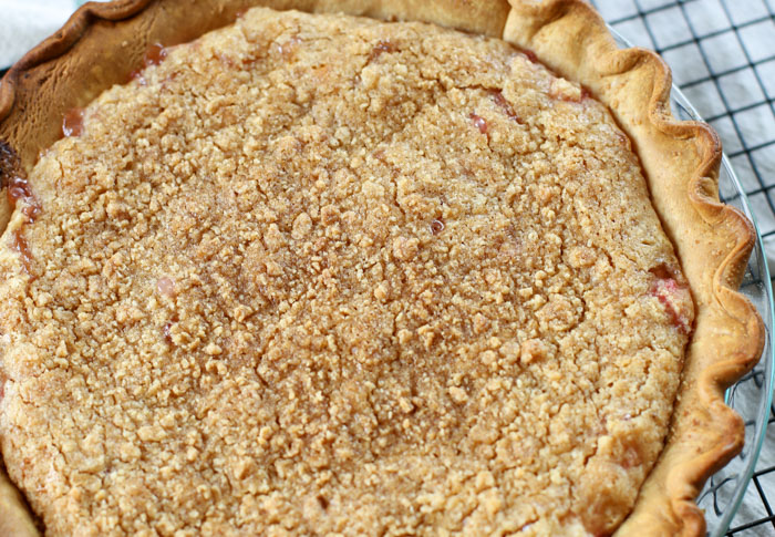 rhubarb pie recipe on cooling rack