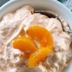 orange fluff salad in bowl