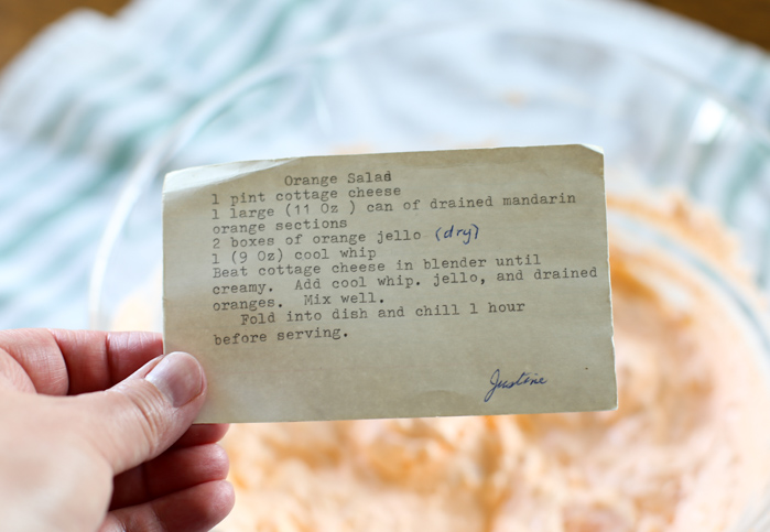 mandarin orange jello salad recipe card