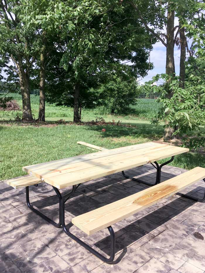 picnic table on back patio