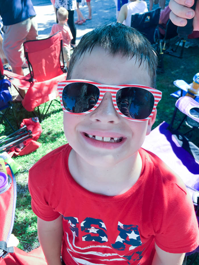 boy with July 4th glasses