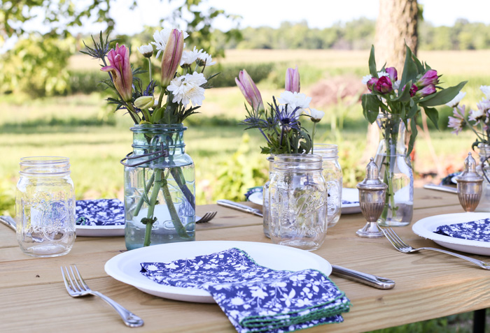 paper plates with cloth napkins for outdoor entertaining