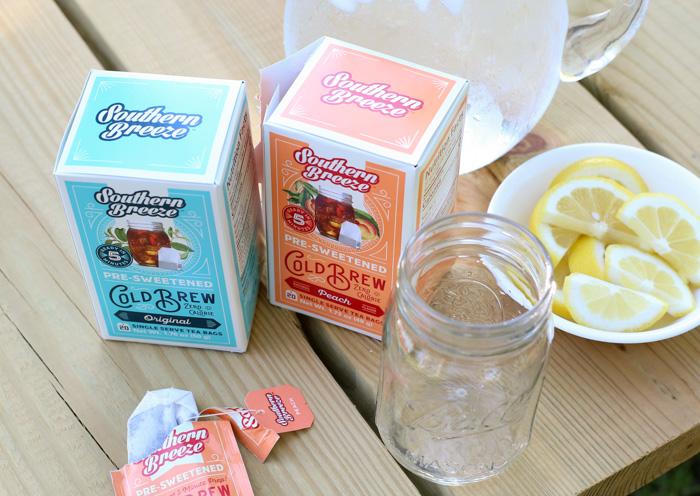 summer breeze iced tea on picnic table
