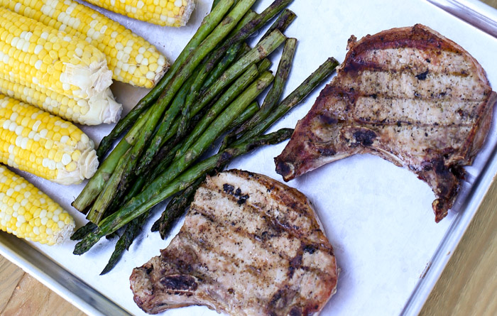 Fareway Meats grilled paired with corn on the cob and asparagus