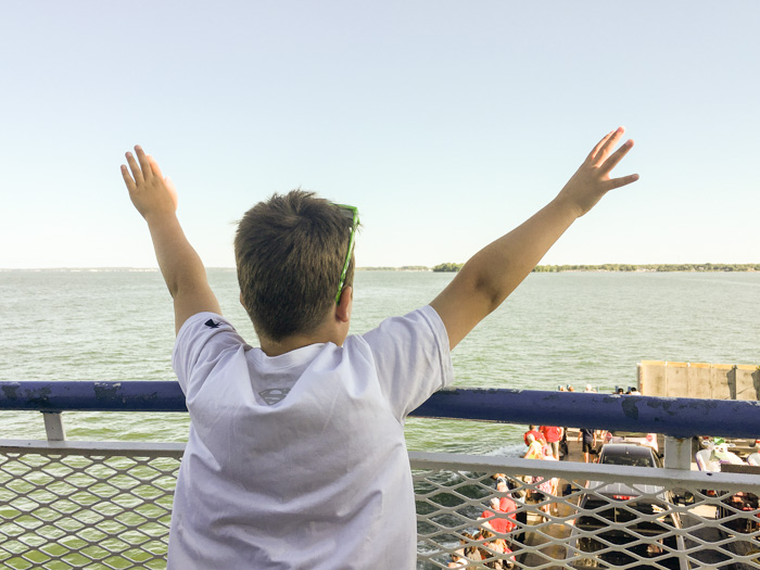 boy on Miller Ferry