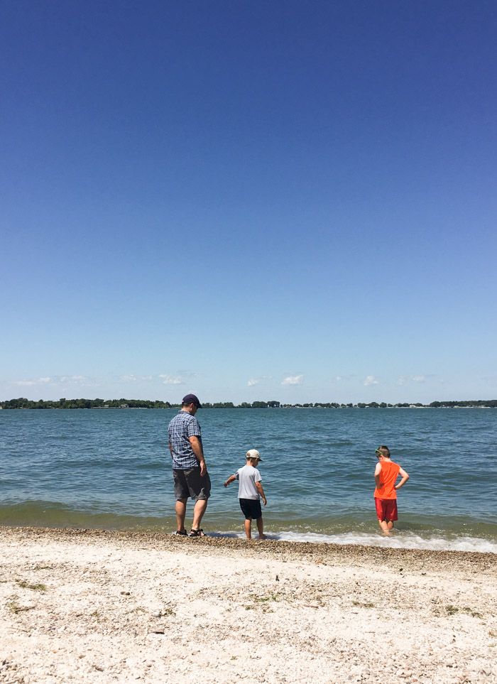 lake Erie beach with family