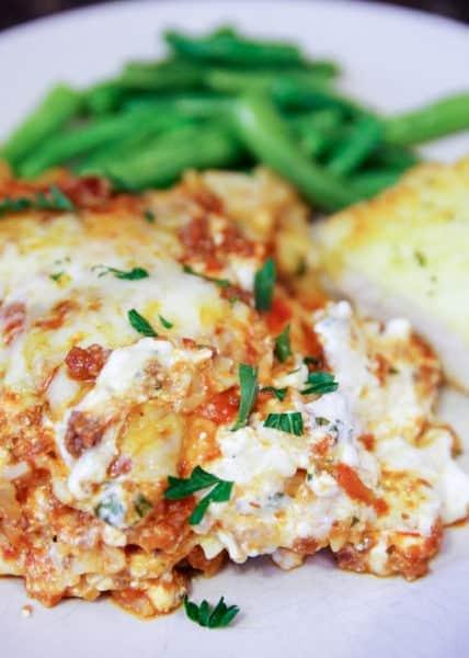 easy lasagna on plate