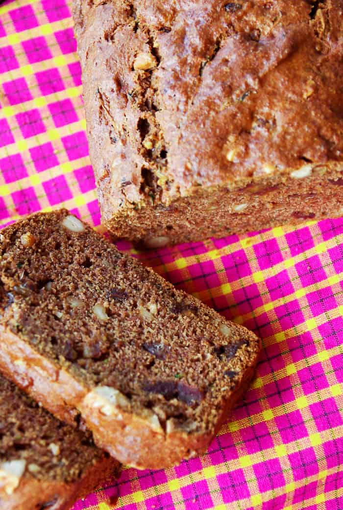healthy zucchini bread on cloth