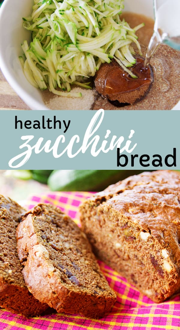 Healthy zucchini bread that is packed with flavor!  Made with coconut oil, applesauce, dark brown sugar, flax egg (making it VEGAN) and of course zucchini! #zucchini #bake #bread
