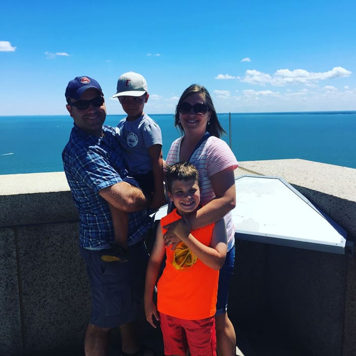 family on top of Perrys monument