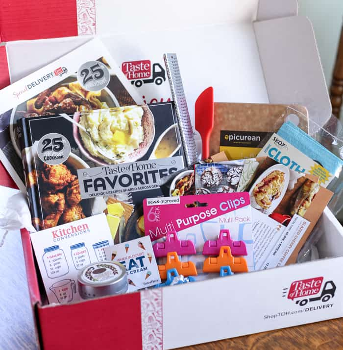 Gadgets and recipes inside taste of home subscription box